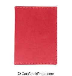 Red leather book isolated on white background