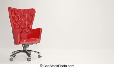 Red leather business chair on a light background - Red...