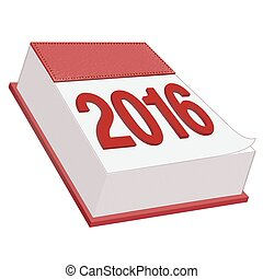 Calendar Icon 2016 - Red Leather Calendar Icon 2016 on White...