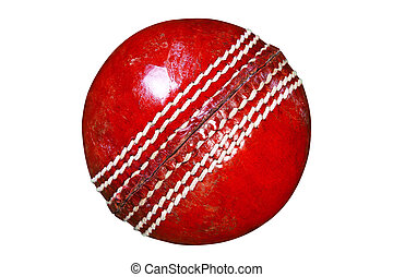 Red leather cricket ball isolated clipping path. - Photo of...