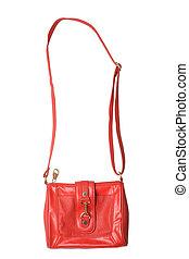 Red leather handbag
