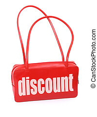 handbag with discount sign