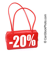 red leather handbag with sale sign