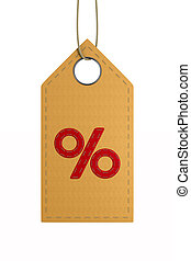 red leather label with percent on white background. Isolated...