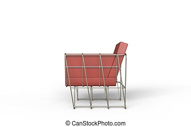 Red leather modern armchair - side view