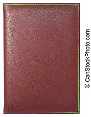 Red leather notebook isolated on white with clipping path