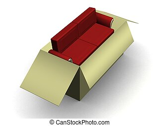 Red leather sofa in a packing box.