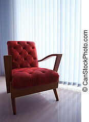 red leather sofa in living room wit