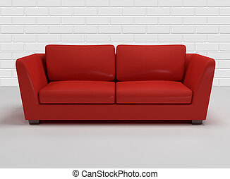 red leather sofa with background of white brick- wall - 3d...
