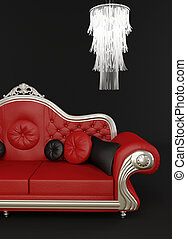 Red leather sofa with chandelier