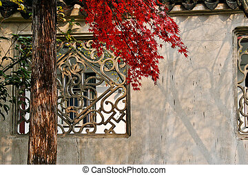 red leaves and wall
