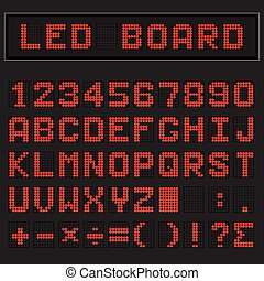 Red LED digital english uppercase font, number and mathematics symbol display on black background