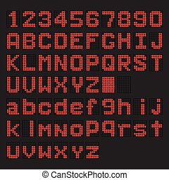 Red LED digital english uppercase, lowercase font, number display on black background