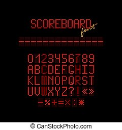 Red led scoreboard font. Vector realistic letters and numbers made of red led.