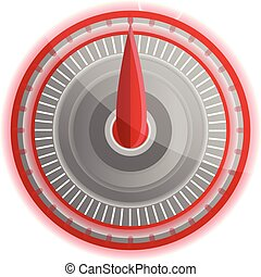 Red led speedometer icon, cartoon style