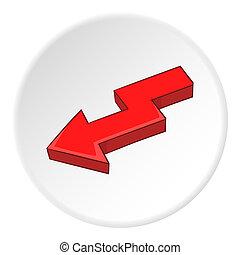 Red left arrow icon, cartoon style