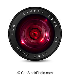 Red lens - Camera lens with red glass. Object on a white ...