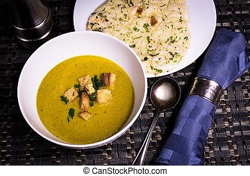 red Lentil Soup with Garlic and Herb Naan Bread - A warming...