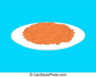 Red lentils cereal in plate isolated. Healthy food for ...