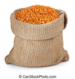 red lentils in bag on white background