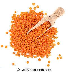 Red lentils in the wooden spoon, isolated on white background