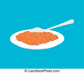 Red lentils Porridge in plate and spoon isolated. Healthy food for breakfast. Vector illustration