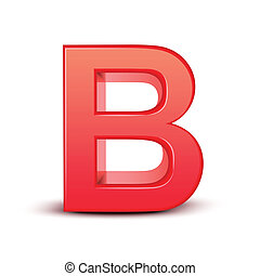 red letter B isolated white background