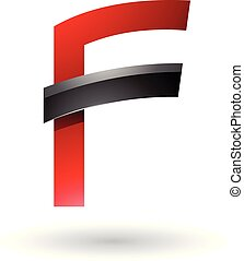 Red Letter F with Black Glossy Stick Vector Illustration