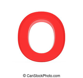 red letter O, 3D rendering graphic isolated on white...