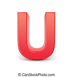 red letter U isolated white background