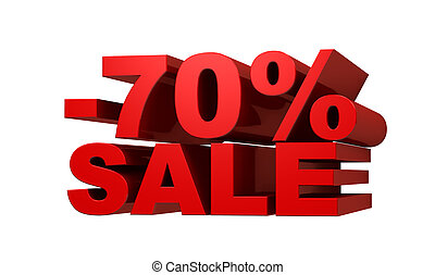 Red letters -70 SALE, discount concept, 3d illustration
