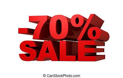 Red letters -70 SALE, discount concept, 3d illustration