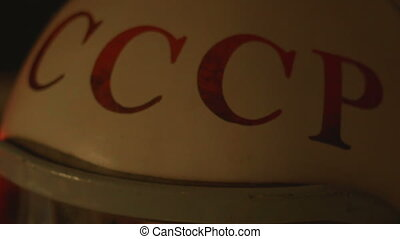 Red Letters of USSR on Helmet - Red Letters of CCCP are...