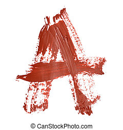 Red letters - A - Red letters over white background