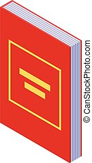 Red library book icon, isometric style