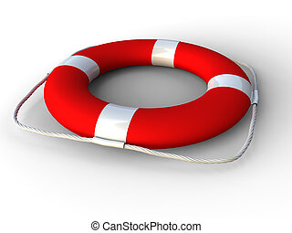 Red life belt - 3D rendering of red life belt on white...