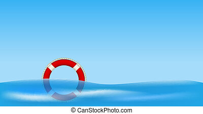 Red life buoy floating on water against blue sky