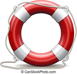 Red life buoy. - Red life buoy on white background. Vector...