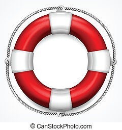 Red life buoy with rope isolated on white background, vector illustration