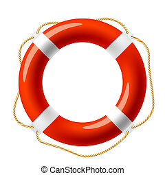 Vector illustration of a red life buoy