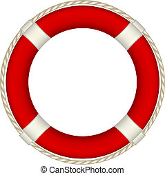 Red life buoy with rope around on white background