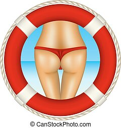 Red life buoy with sexy bum of woman in red bikini as beach...