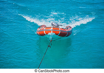 Red Lifeboat in the sea