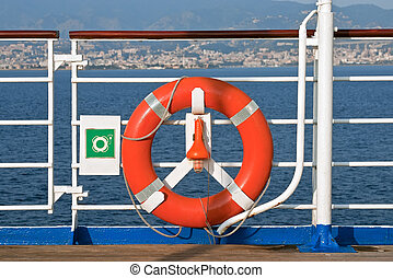 Lifebuoy - Red Lifebuoy in front of the blue sea and the ...