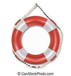 Red lifebuoy ring isolated on white background