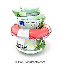 Red lifebuoy saving roll euro