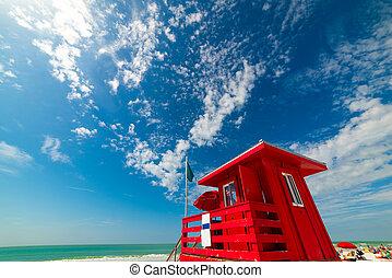 Red lifeguard tower in Siesta Key beach