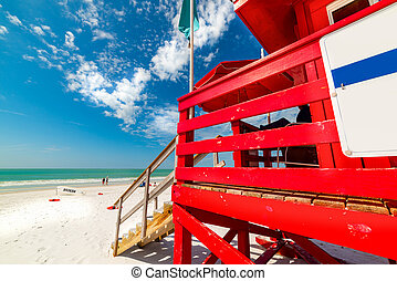 Red lifeguard tower in Siesta Key