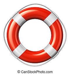 Red lifesaver belt isolated on white background