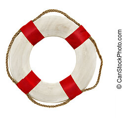Red lifesaver lifebuoy life belt isolated on white...